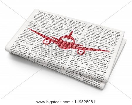 Vacation concept: Aircraft on Newspaper background