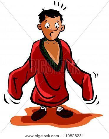 boy using oversize shirt
