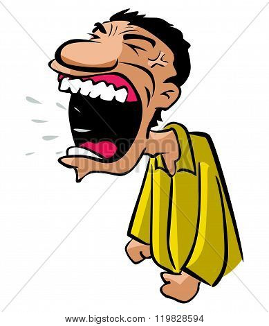 angry man with big shouting mouth