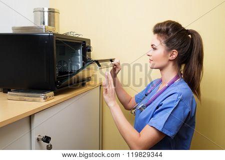 Veterinarian sterilizing medical instruments in special camera.