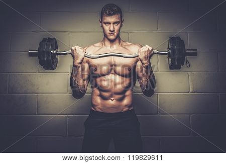 Athletic man doing exercises with barbell in The Gym's Studio