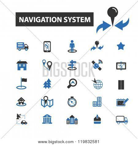 navigation system icons, navigation system logo, navigation system vector, navigation system flat illustration concept, navigation system infographics, navigation system symbols,