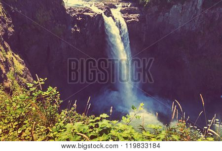 The beautiful Snoqualmie waterfall , USA.