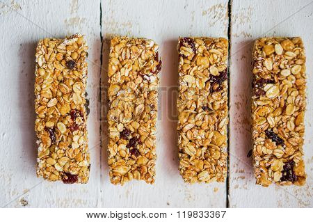 Granola Bars On Wooden Background