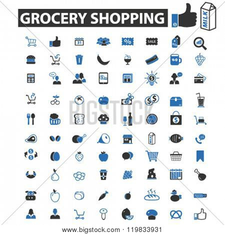 grocery shopping icons, grocery shopping logo, grocery shopping vector, grocery shopping flat illustration concept, grocery shopping infographics, grocery shopping symbols,