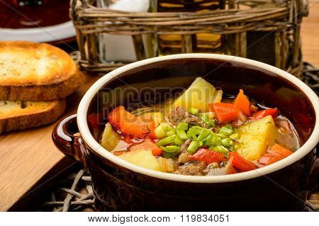 Hungarian soup goulash with meat and vegetables.