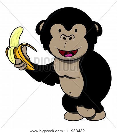 Gorila with banana