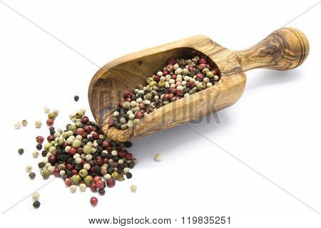 Mixed color pepper in wooden scoop on white isolated background