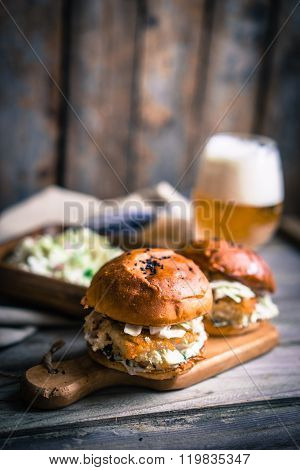 Rustic Fish Burgers With Coleslaw And Beer