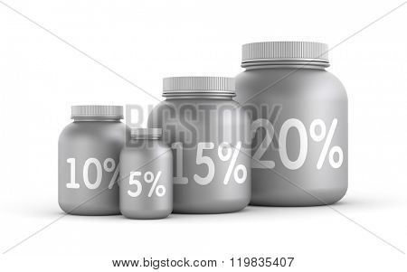 Lot of jars with percent sign
