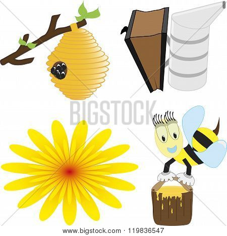 A vector illustration set of honey bee related icons like happy honey bee