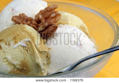 Delicious Ice Cream With Nuts