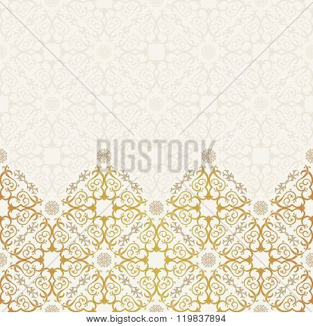 Vector border seamless pattern art ornament. Vintage elements for design in Oriental style. Ornamental lace tracery background. Ornate floral decor for wallpaper. Endless baroque texture