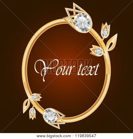 Gold Frame With Diamond. Vintage Frame. Round Frame With Flowers. Jewelry Frame. Vector Frame. Can U