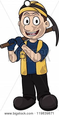 Coal mining worker vector cartoon illustration design