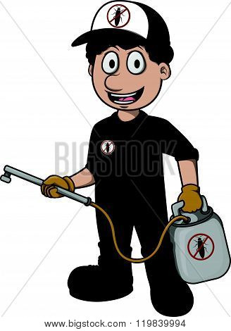 exterminator vector cartoon illustration design
