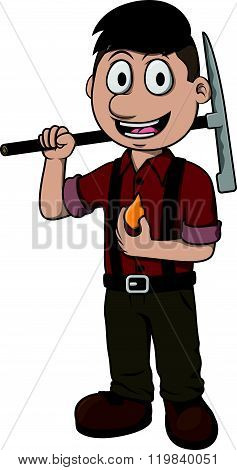 Gold miner vector cartoon illustration design
