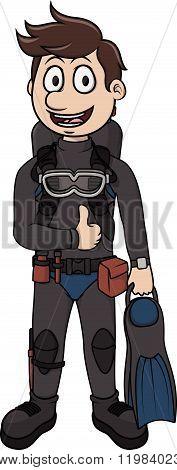 Scuba Diver vector cartoon illustration