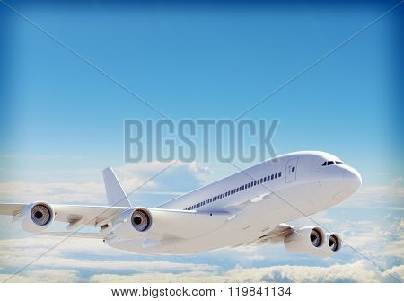 Passenger jet plane flies above the clouds