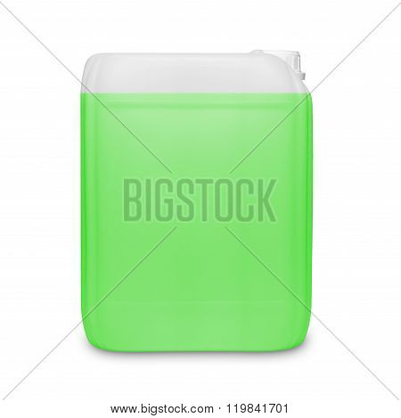 Green transparent cleaning supply product container isolated on white