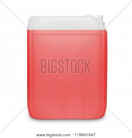 Red transparent cleaning supply product container isolated on white