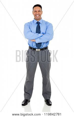 successful mid age business executive posing on white background