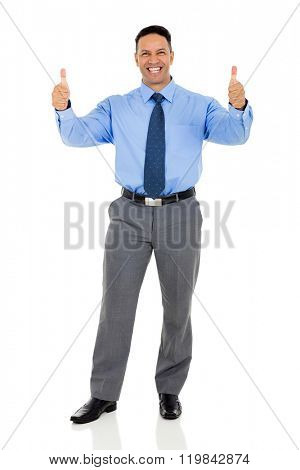 cheerful mid age corporate worker with thumbs up