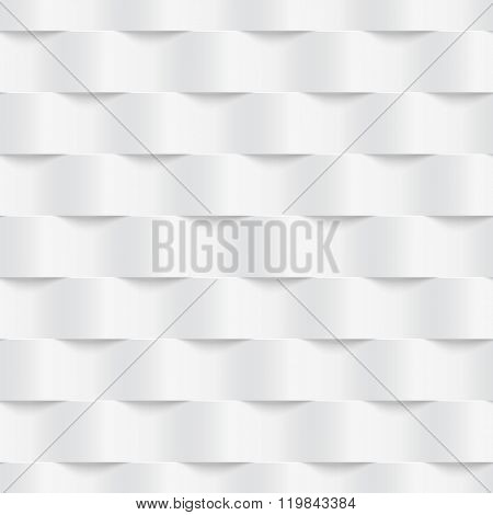 Vector seamless geometric pattern with 3D effect. White waves.