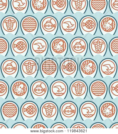 Ocean Icons Pattern On Blue Waves
