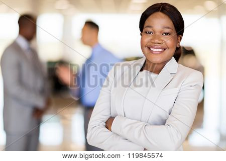 close up portrait of african america businesswoman at car dealership
