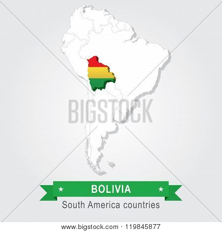 Bolivia. All the countries of South America. Flag version.