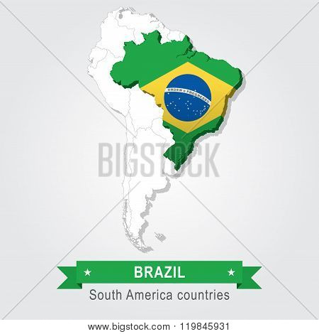 Brazil. All the countries of South America. Flag version.