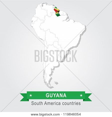 Guyana. All the countries of South America. Flag version.