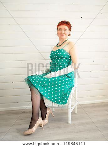 Attractive Adult Woman Sitting On Chair, 50S Style