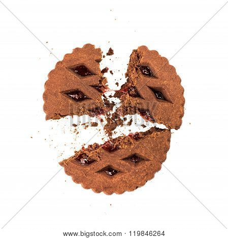 An Explosion Of Cookies And In The Air On An Isolated White Background
