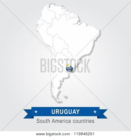 Uruguay. All the countries of South America. Flag version.
