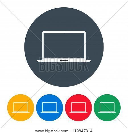 Laptop Icons Colorful Set On The White Background. Stock Vector Illustration Eps10