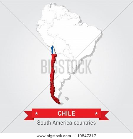 Chile. All the countries of South America. Flag version.