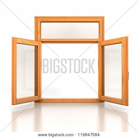 Open Wooden Double Window Opened Isolated On White Background