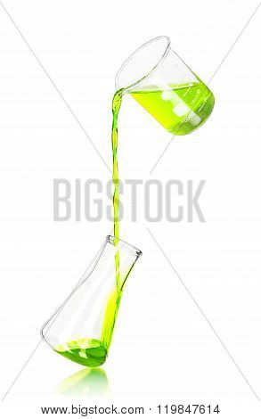In Laboratory Flask Pours Blue Reagent On Isolated White Background