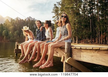 Group Of Young Friends Enjoying A Day At The Lake
