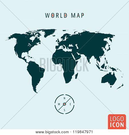 World Map Icon Isolated