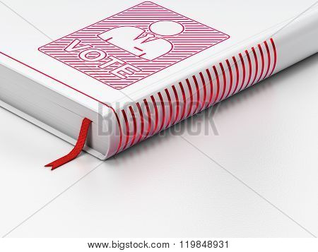 Politics concept: closed book, Ballot on white background