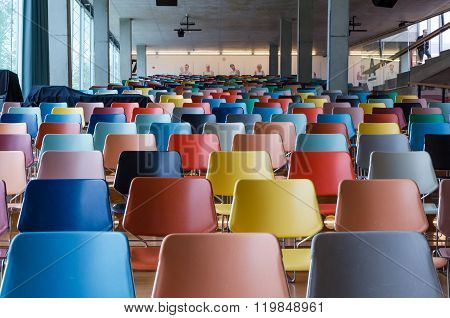 Rotterdam, Netherlands - May 9, 2015: Colorful Chairs In Modern Auditorium