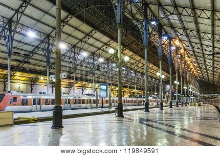 The Rossio Railway Station By Night In Lisbon, Portugal