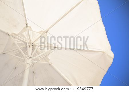 Sunshade Against The Blue Sky From The First Person