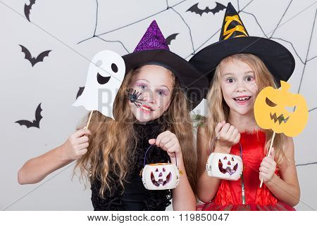Happy Children On Halloween Party