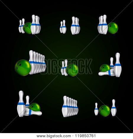 Bowling Skittles And Bowls As Vector Design Elements.