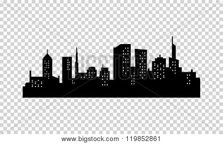 Vector City Silhouette. Black color. Panorama of Megapolis City. Skyscrapers in the Night with Lights in the Windows