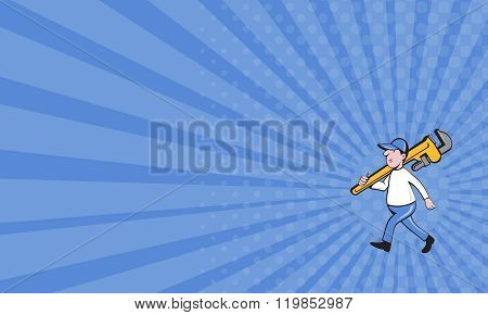 Business Card Plumber Holding Monkey Wrench Isolated Cartoon